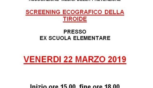 Venerdì 22 marzo screening ecografico della tiroide
