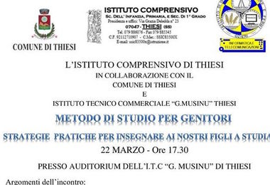 """""""Metodo di studio per genitori"""": se ne parla venerdì 22 marzo all'Itc Musinu"""