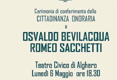 Lunedì 6 maggio la consegna della cittadinanza onoraria a Osvaldo Bevilacqua e Romeo Sacchetti